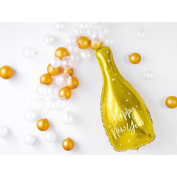 Szilveszteri - Fólia Lufi, pezsgős üveg, arany, 32X82cm