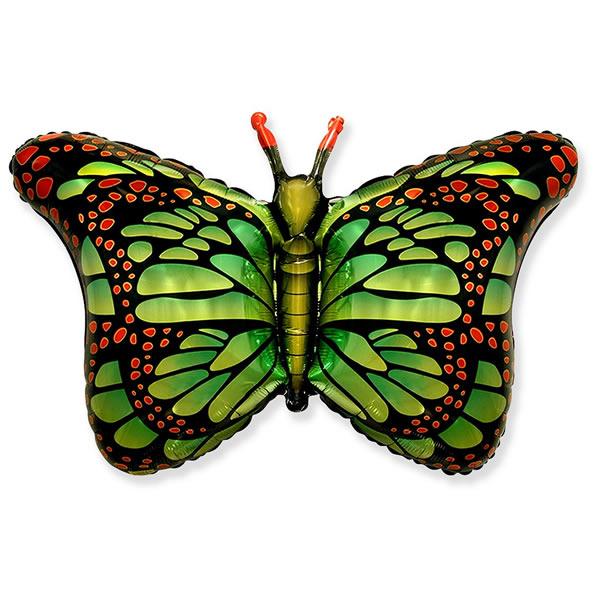 Fólia lufi, nagyforma, pillangó, zöld, 24