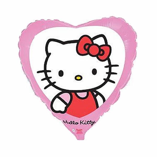 Fólia lufi, Hello Kitty, rózsaszín, szív forma kb. 45 cm
