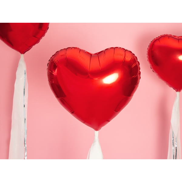 Szív alakú piros fólia lufi, 18