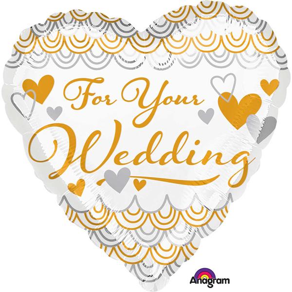 Esküvői fólia lufi,  For your wedding, szív,  45 cm