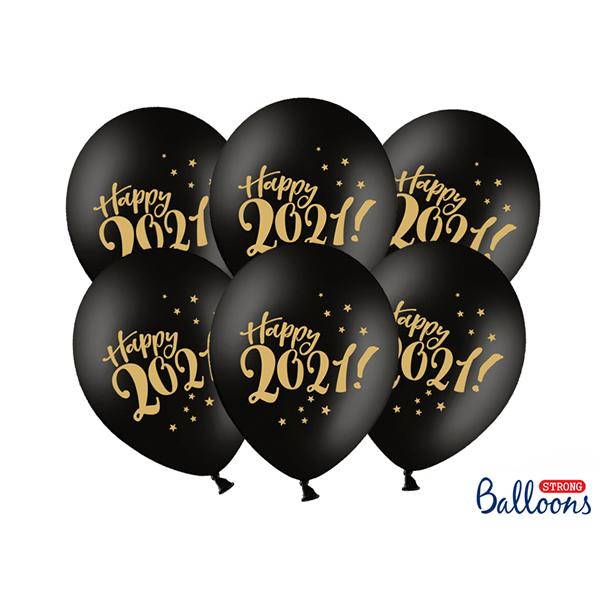 Happy 2021, Lufi, fekete, 30cm,  5 db/cs