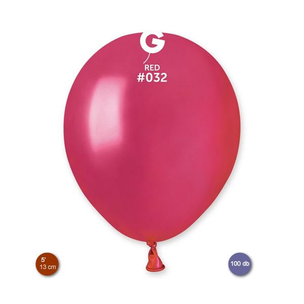 Lufi (metál) piros, 13cm, gömb, 100 db/cs