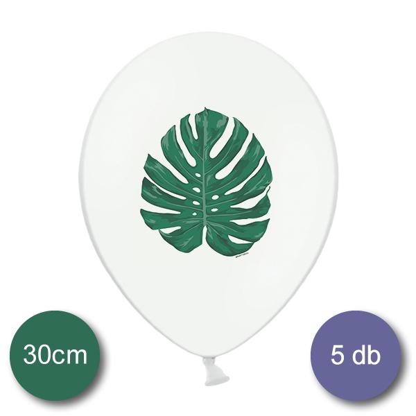 Léggömb, fehér, Aloha levéllel, 30cm, 5 db/cs