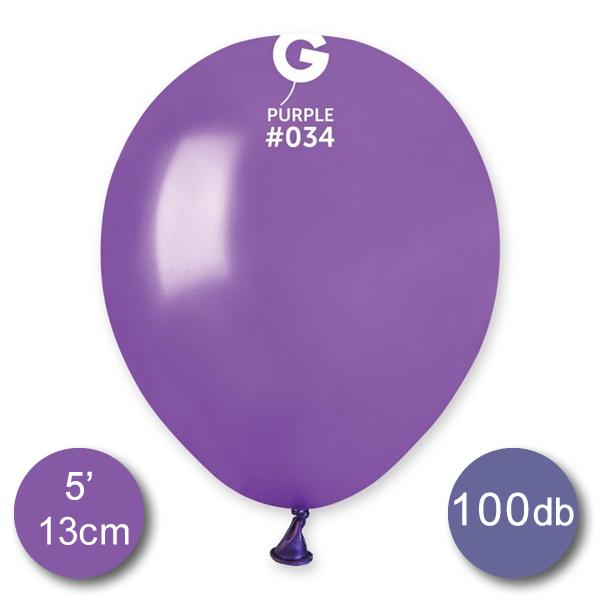 Lufi (metál) lila, 13cm, gömb, 100 db/cs