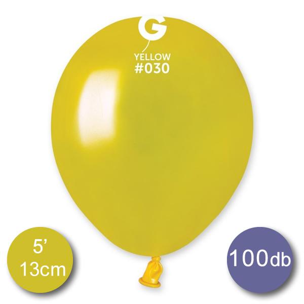 Lufi (metál) sárga, 13cm, gömb, 100 db/cs