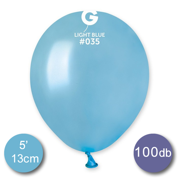 Lufi (metál) világos kék, 13cm, gömb, 100 db/cs