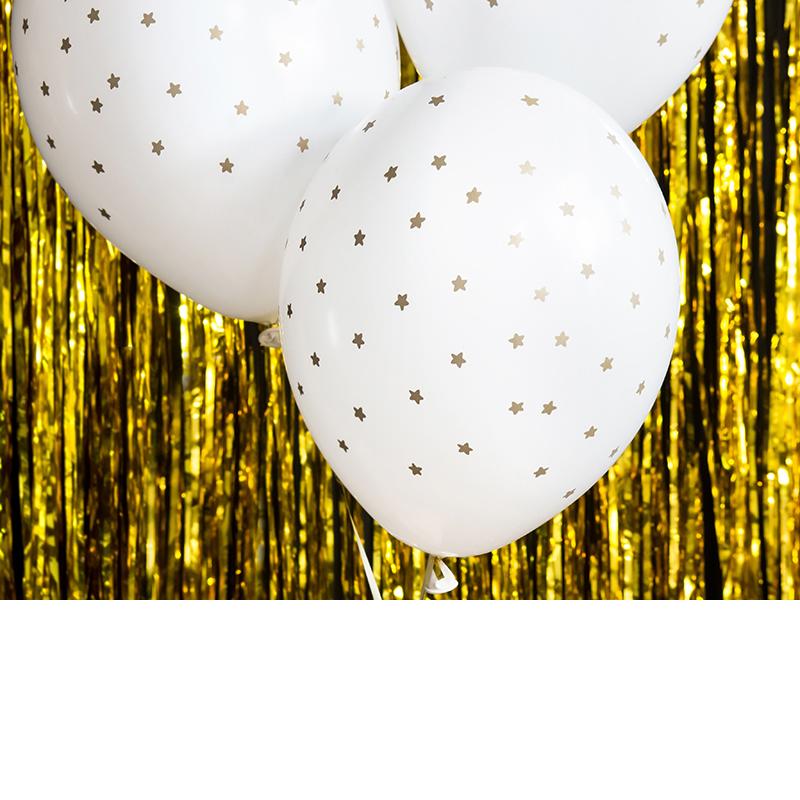 Léggömb, arany csillagokkal,  átlátszó és fehér Mix 30cm, 5 db/cs