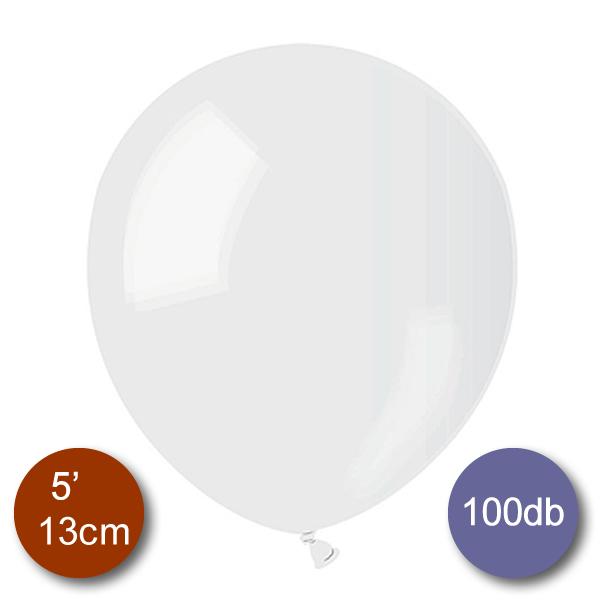Pasztel, átlátszó lufi, 100 db GÖMB, Ø13cm