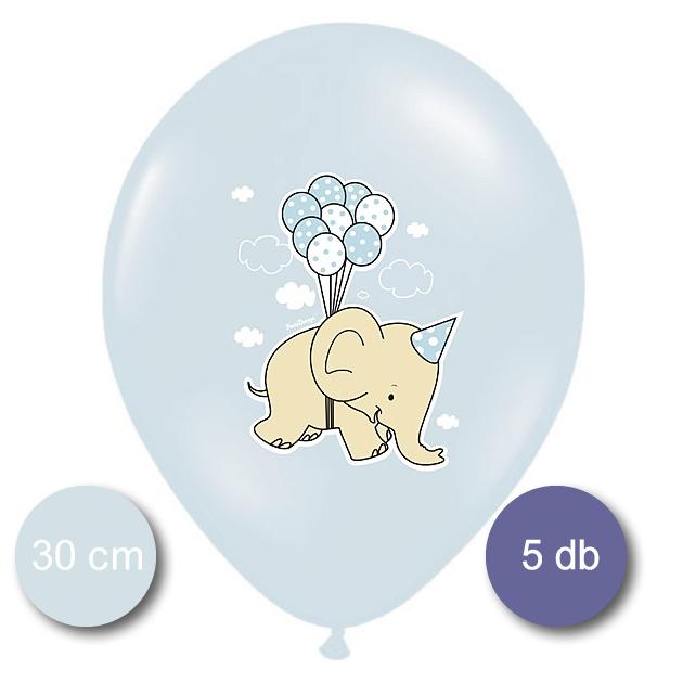 Bébi kék Lufi, elefántos és pöttyös, mix, 5 db/cs