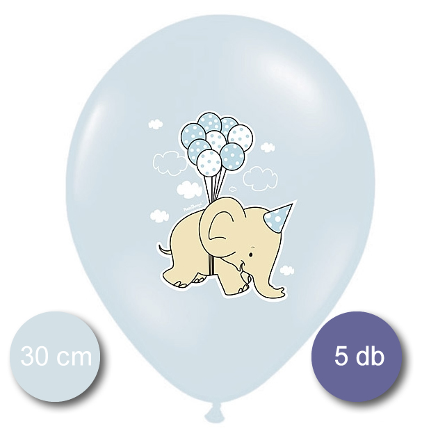 Bébi kék Lufi, elefántos, 5 db/cs
