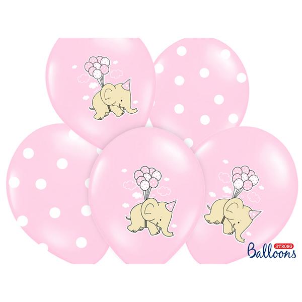 Bébi rózsaszín Lufi, elefántos és pöttyös a csomagban, 5 db/cs