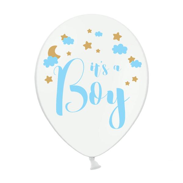 Babaváró latex léggömb, It's a boy, 5db/cs