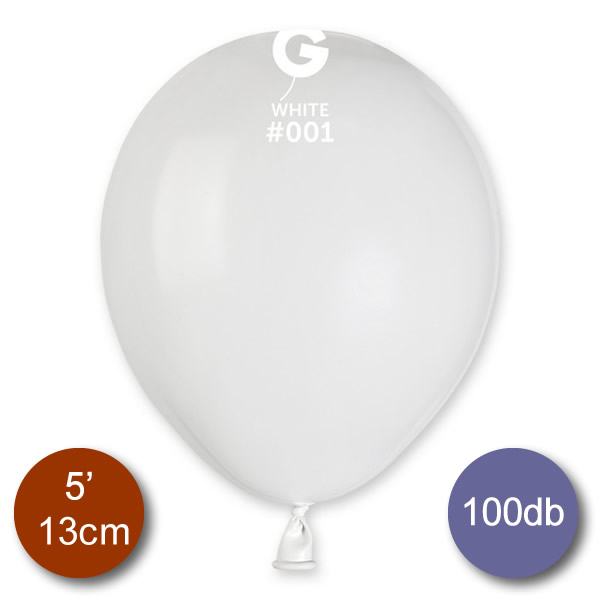 Pasztel,  fehér lufi, 100 db GÖMB, Ø13cm