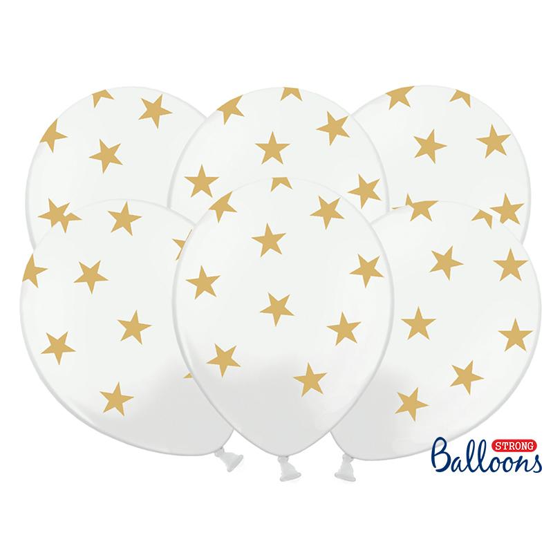 Léggömb, fehér, arany csillagokkal, 30cm, 5 db/cs