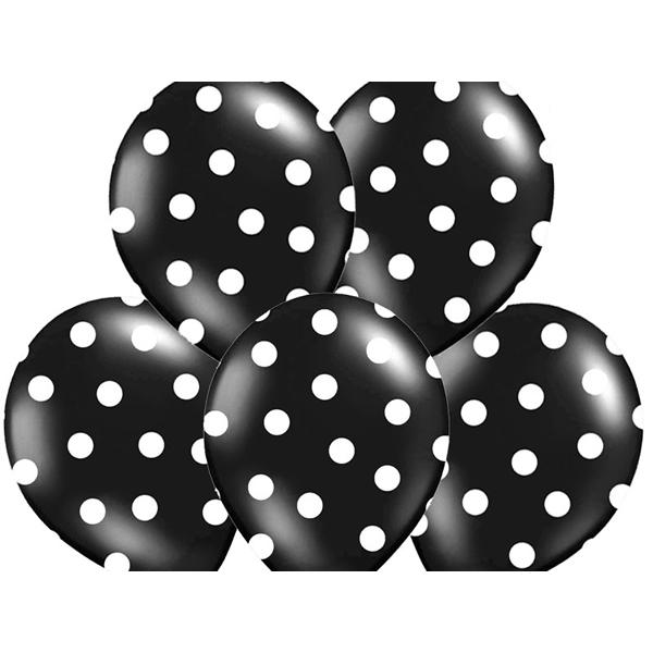 Pöttyös léggömb, 30cm, fekete színben, 5 db/cs