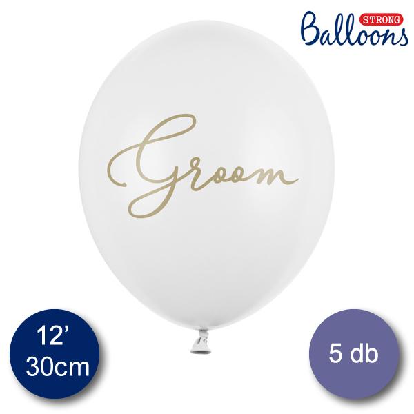 Fehér lufi, Groom felírattal, 30cm,  5 db/cs