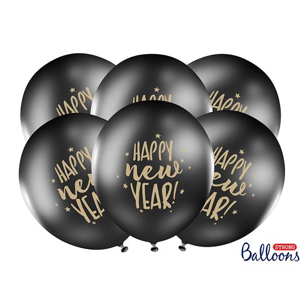 Lufi, fekete, 30cm, Happy New Year  5 db/cs