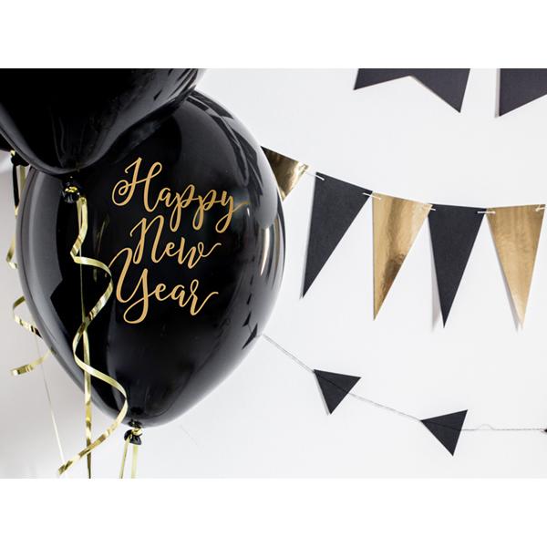 Lufi, fekete, 30cm, két oldalt nyomott, Happy New Year  5 db/cs