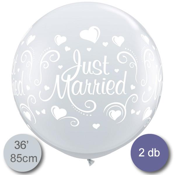 Lufi, Just Married felírattal és szívekkel, gyöngy metál, 85cm, 2 db