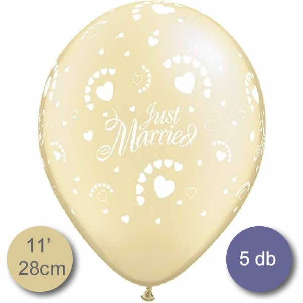Lufi, Just Married felírattal és szívekkel, ivory metál, 28cm, 5db