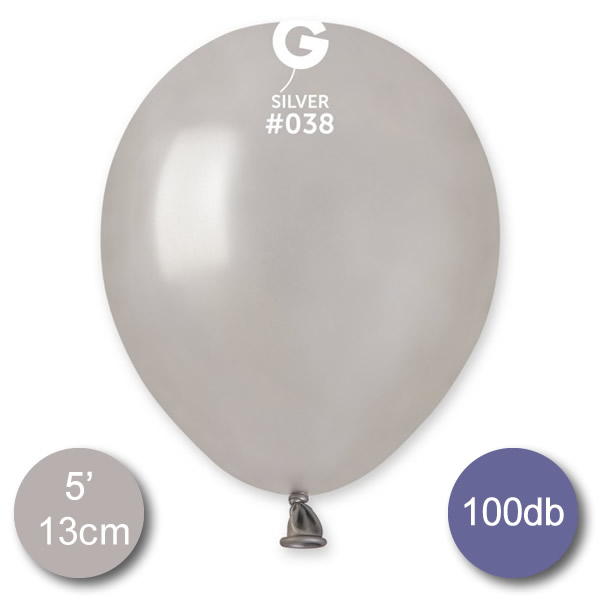 Lufi (metál) ezüst, 13cm, gömb, 100 db/cs