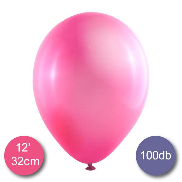Lufi (metál) pink, 32cm, 100 db/cs