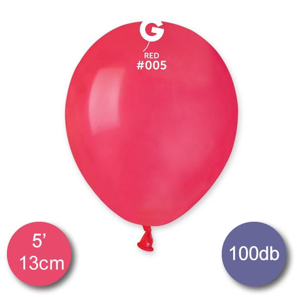 Pasztel,  piros lufi, 100 db GÖMB, Ø13cm
