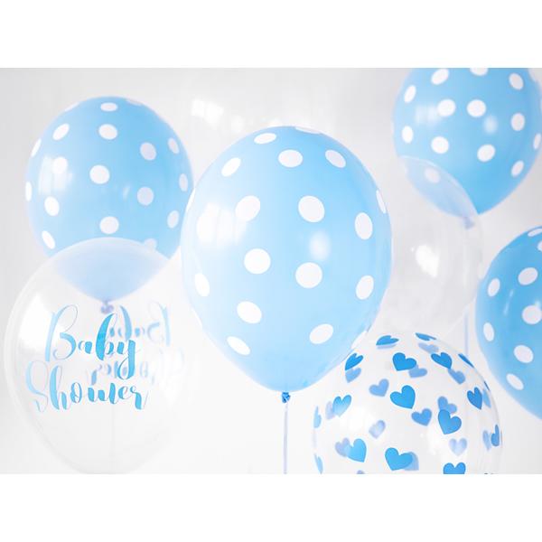 Pöttyös léggömb, nagy csomag, 30cm, bébi kék színben, 50 db/cs