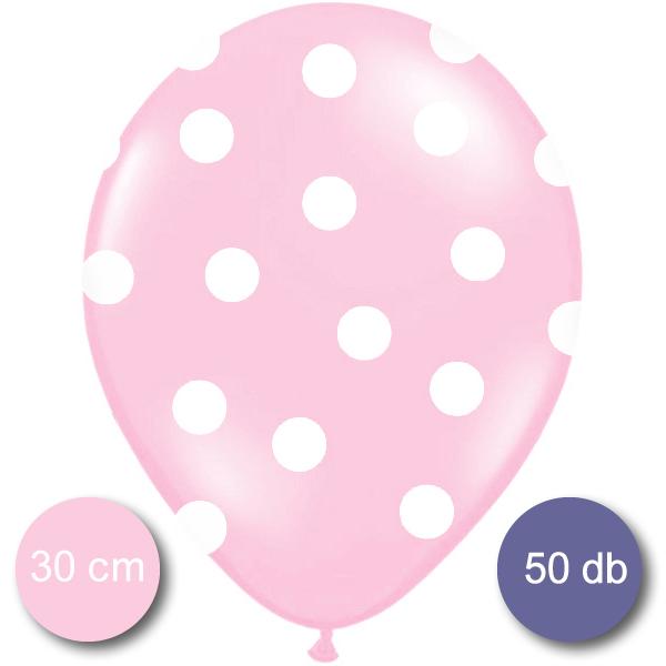 Pöttyös léggömb, 30cm, bébi pink színben, 50 db/cs