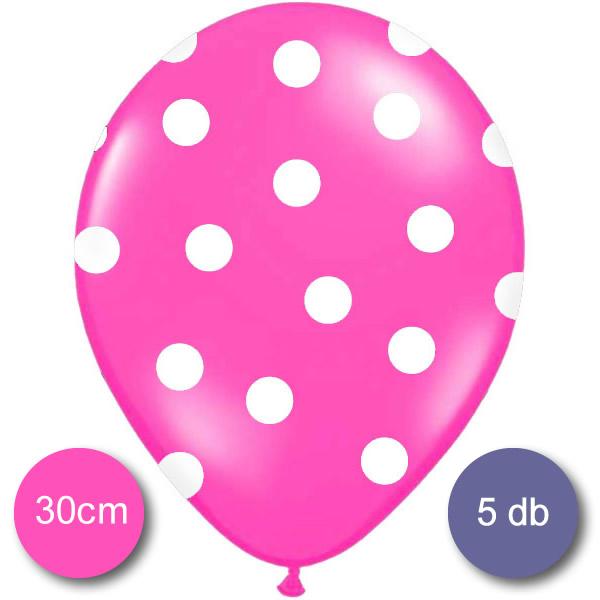 Pöttyös léggömb, 30cm, pink színben, 5 db/cs