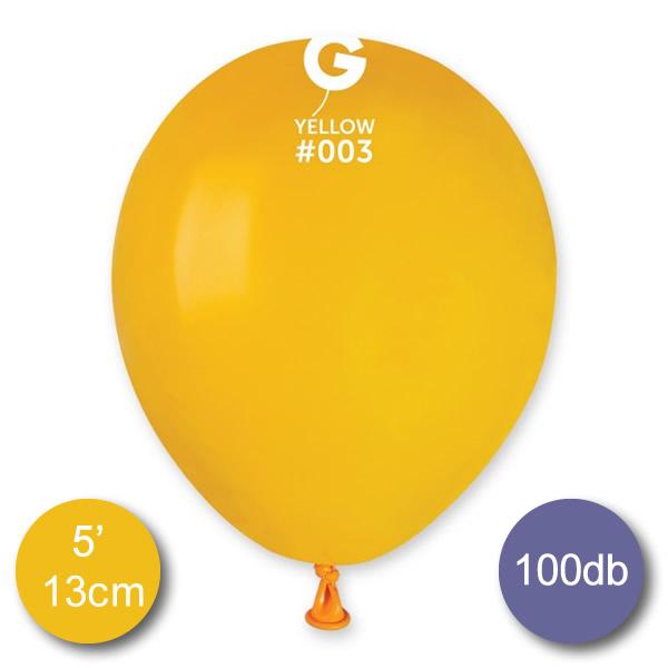 Pasztel,  sötét sárga, 100 db GÖMB, Ø13cm