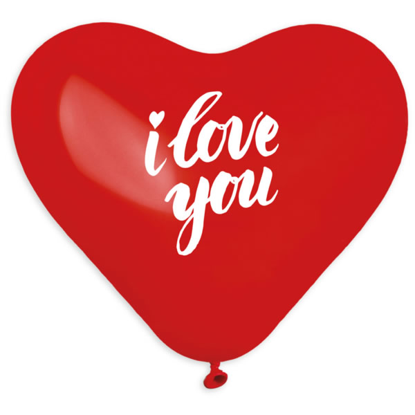 Lufi szív alakú, piros, I love you felirattal 5 db/cs