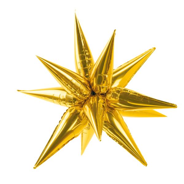 Csillag 3D fólia lufi, 90 cm, arany