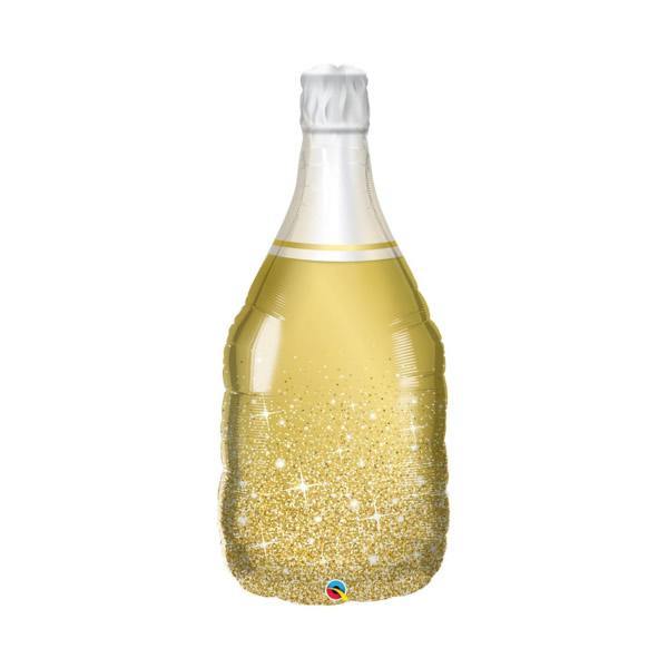 Pezsgős üveg, kb. 100 cm,  fólia lufi, arany