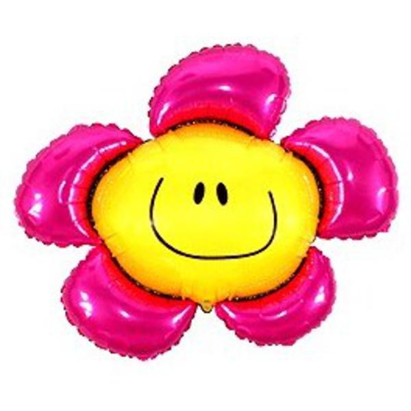Fólia lufi,  mini forma, rózsaszín mosolygó virág, 35 cm
