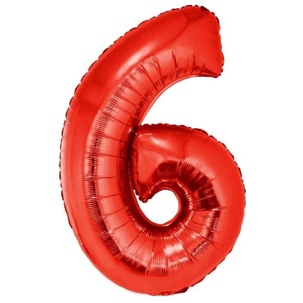 6. szám, fólia lufi, 102 cm, piros