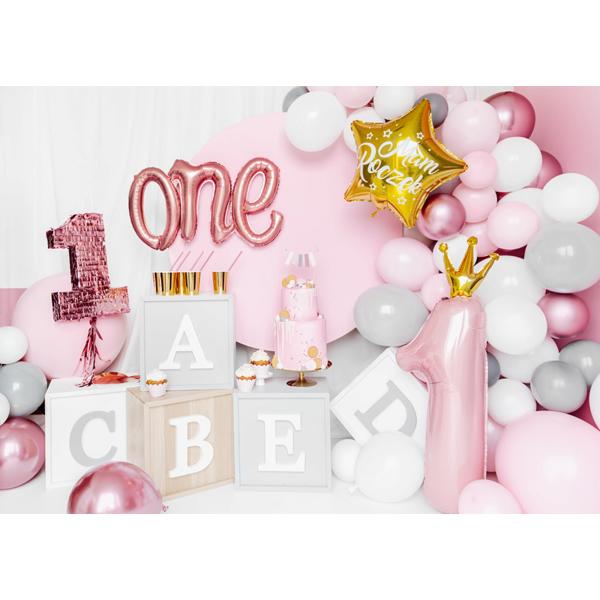 Fólia lufi, 1. születésnapra, rózsaszín, koronával 30x90 cm