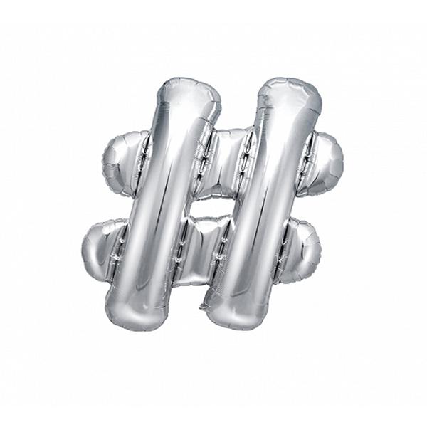 Fólia léggömb, rács, ezüst, 35 cm