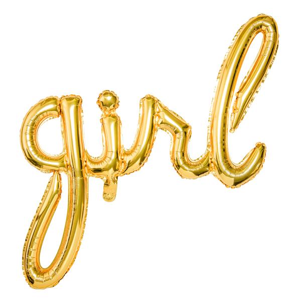 Fólia lufi, arany, girl felirat, 77 X 70 cm