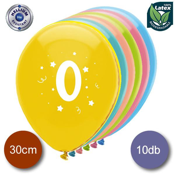 Lufi, évszámos (0),  10 db/cs/vegyes színekben