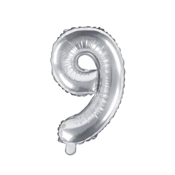 9. szám, fólia lufi, 35 cm, ezüst