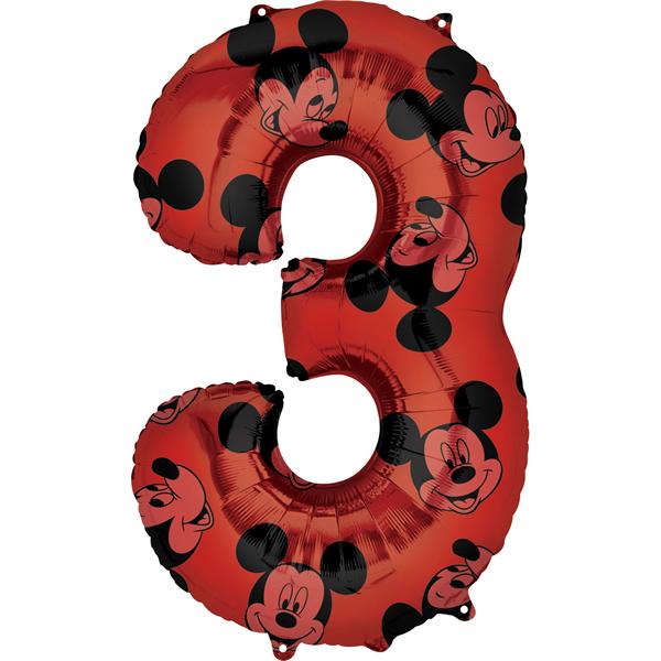 3. szám, fólia lufi, Mickey  Mosue Forever, 66 cm
