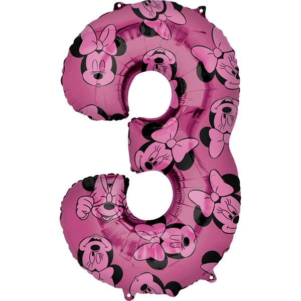 3. szám, fólia lufi, Minnie  Mosue Forever, 62 cm