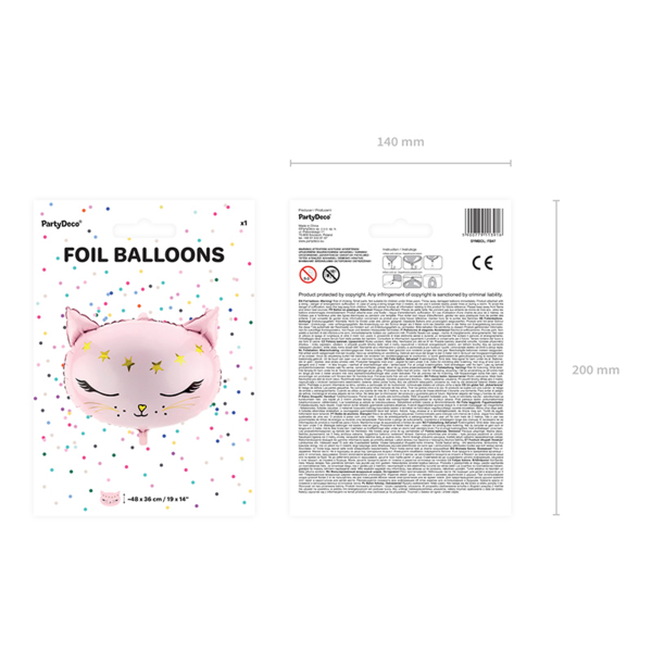 Fólia lufi,  rózsaszín, Cica fej, 48x36 cm
