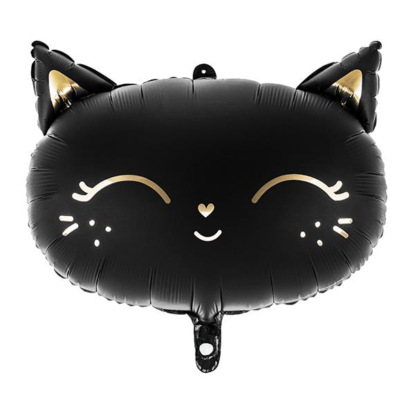 Fólia lufi,  fekete, Cica fej, 48x36 cm