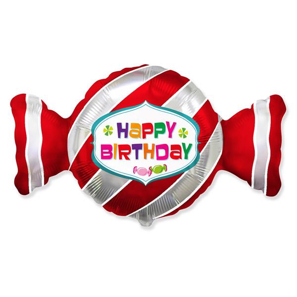 Édesség formájú fólia lufi, Happy Birthday, 24