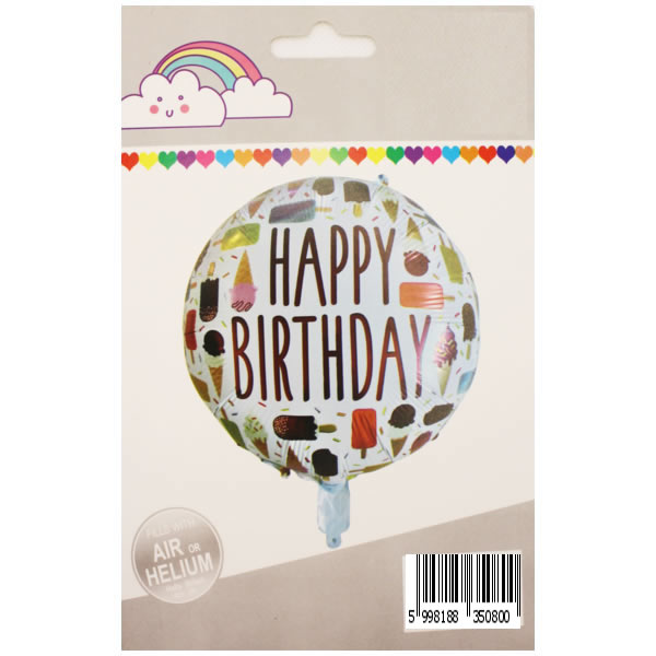 Happy Birthday, fagyis, fehér, fólia lufi, 18