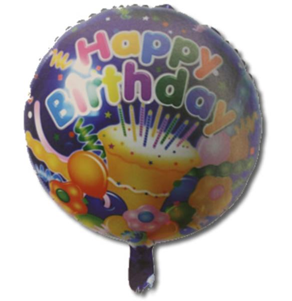 Happy Birthday, tortás, kék, fólia lufi, 18