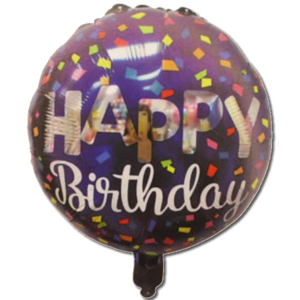 Happy Birthday, konfettis, kék, fólia lufi, 18